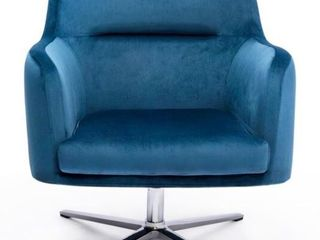 Kinwell Casual Blue Velvet Accent Swivel Armchair  Blue  Retail 256 99  Missing Two Bolts