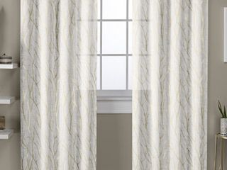 ATI Home Woodland Metallic Print Sheer Grommet Top Curtain Panel Pair 54  x 84