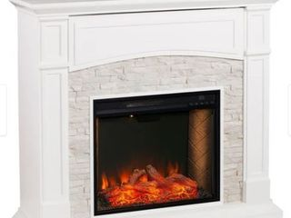 Copper Grove Stevens Transitional White Wood Alexa Enabled Fireplace  Fireplace Not Included  Retail 665 49