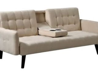 Hash Grey Tufted Upholstered Futon Sleeper in Beige  Retail 386 49
