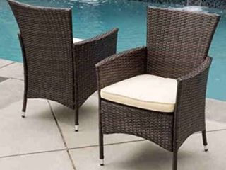 Malta Outdoor Wicker Dining Chairs with Cushions by Christopher Knight Home  Set of 2  Retail 209 99