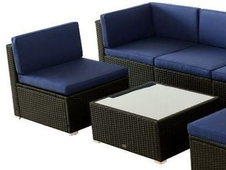 OutSunny Modern Rattan Wicker Outdoor Chair And Ottoman With Glass Top