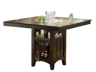 Coaster Hyde Counter Height Square Dining Table with Storage Base in Cappuccino   1 018 49