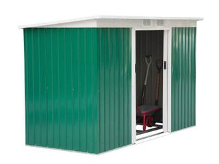 Incomplete  Metal Panels Only  Panel Sizes Vary  Outsunny Outdoor Green and White Metal 9  x 4  Garden Storage Shed  Retail 419 99