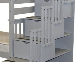 Bedz King Stairway To Twin Bunk Bed  Grey