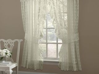 Ivory Ruffled Bridal lace Curtain Panel Pair with Scrolling Flower Pattern   63  x 130