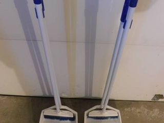 Pair of Brooms w Dust Pans
