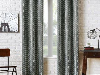 95 x40  Kenwood Chevron Blackout Grommet Top Curtain Panels Gray   Sun Zero