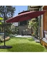 Ainfox 11ft 2 Tier Offset Hanging Patio Solar Powered Umbrella only Base Not Included  Retail 253 99 burgundy