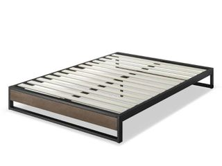 Zinus   GOOD DESIGNa Winner   Suzanne 10a Metal and Wood Platforma Bed frame only with Slat Support  King grey