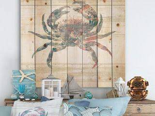 Designart  Pink Crab Ocean life  Nautical   Coastal Print on Natural Pine Wood   Grey  Retail 117 99