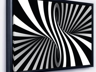 Designart  Black and White Spiral  Abstract Framed Canvas Art Print  Retail 111 99