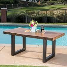 Caldwell Outdoor Faux live Edge Rectangle light Weight Concrete Dining Table by Christopher Knight Home