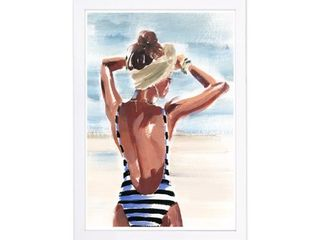 Wynwood Studio Fashion and Glam Framed Wall Art Prints  That Tan  Swimsuit Home Decor   Brown  White   13 x 19