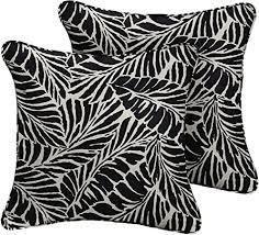 patio cushion set leafs black and white