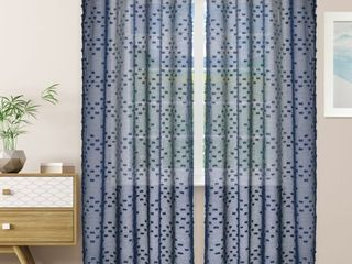 Impressions Remi Floral Textured Sheer Curtain Set of 2 with Grommet Top Header