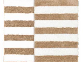 Beach Stripe Tan White Washable Bathroom Rug Set