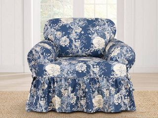 Sure Fit Ballad Bouquet Armchair T Cushion Skirted Slipcover  Retail 118 77
