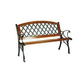 Garden Treasures 25 95 in W x 50 in l Brown Steel Patio Bench