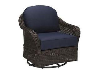allen   roth McAden Set of 2 Dark Brown Wicker Metal Swivel Glider Conversation Chair s  with Blue Cushioned Seat
