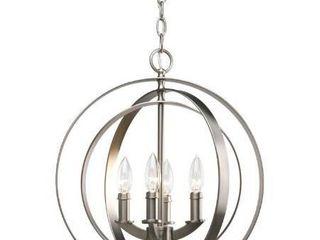 Progress lighting P3827 126 4 light Sphere Foyer lantern with Pivoting Interlocking Rings  Burnished Silver