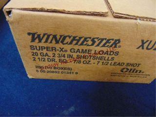 Case of Winchester 20ga 2 3 4  shotshells  250rds