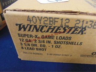 Case of Winchester 12ga 2 3 4  shells  250rds