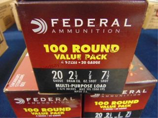 3bxs of Federal 20ga 2 3 4  shells  300rds