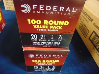 2bxs of Federal 20ga 2 3 4  shells  200rds