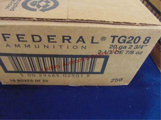 Case of Federal 20ga 2 3 4  shells  250rds