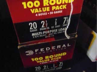 2bxs Federal 20ga 2 1 2  shells  200rds