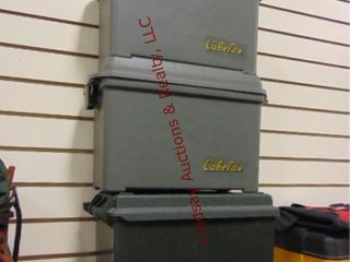 3 plastic ammo boxes