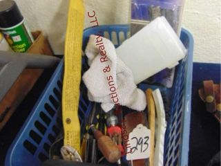 Basket of misc cleaning tools   other