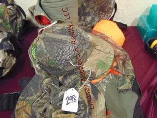 Group of Hunting  hats  gloves  bibs    other misc