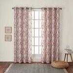Set of 2 84 x54  Branches linen Blend Grommet Top Window Curtain Panel Mecca Orange   Exclusive Home