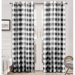 DriftAway Buffalo Checker Pattern lined Blackout Grommet Window Curtains Printed Plaid 2 layer Set of 2 Panels 52 Inch by 96 Inch Black