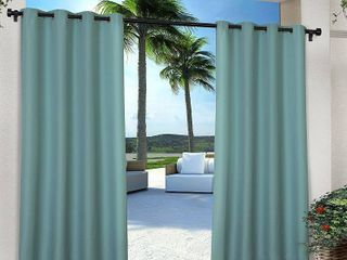 Set of 2 108 x54  Outdoor Solid Cabana Grommet Top light Filtering Curtain Panel Teal   Exclusive Home