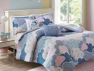 Full Queen Euphoria Cotton Duvet Cover Blue