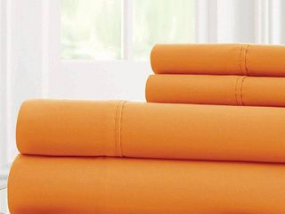 Pacific Coast Textiles Bright Solid Microfiber Polyester Sheet Set  Orange  Queen