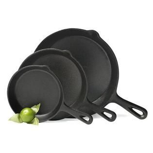 3pc Cast iron fry pan with spouts