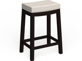 Copper Grove Apodaca Backless White Vinyl Seat Counter Stool