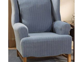 Sure Fit Stretch Stripe Wing Chair Slipcover  blue Retail 79 98