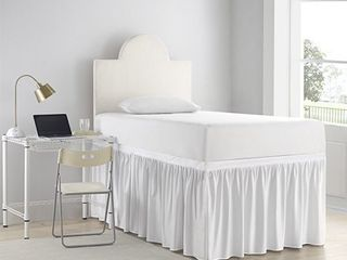 luxury Plush Dorm Sized Bed Skirt Panel with Ties  3 Panel