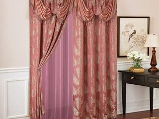 Gracewood Hollow Bao Textured Floral Jacquard Single Rod Pocket Curtain Panel w  Attached 18 inch Valance