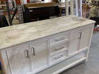 White double vanity and marble top  Some damage