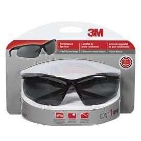 3M Multi Purpose Safety Glasses Antifog Gray lens Black Frame  SET OF 2