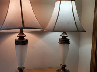 Matching Overbrushed Bronze Tone with Fogged Glass Center Bedside lamps