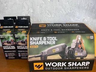 Work Sharp Knife and Tool Sharpener With Replacement Belt Kits location Workbench