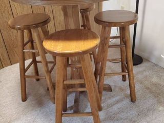Bar Height Oak Table with 4 Barstools