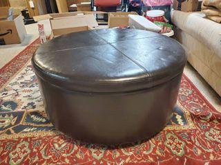 Faux leather Black Storage Ottamon